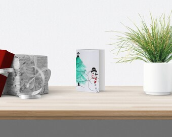 Greeting card, christmas card, snowman, brittany card, christmas tree card