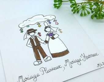 Wedding announcement card, Breton couple, wedding gift, wedding announcement