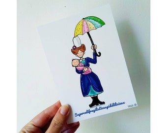 Card for nanny, nanny gift, fancy stationery,