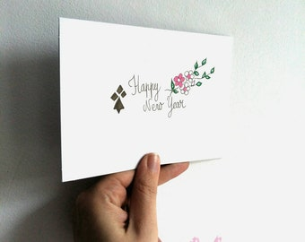 Greeting card, new year card, happy new year, card brittany, card ermine, flowers