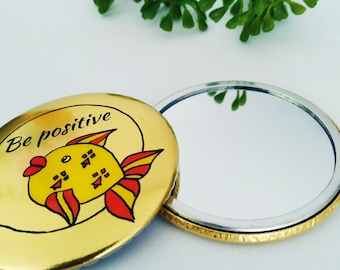 Pocket Mirror, Fish Mirror, Quote, Be Positive, Gold Mirror