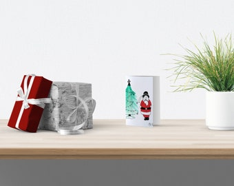 Greeting card, christmas card, santa claus, brittany card, christmas tree card