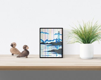 Marine Illustration, Home Decoration, Lighthouse Design, Black Frame