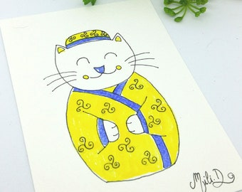 Carte Chat jaune kimono