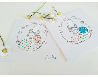 For Grandma, Double card, greeting card, grandmothers day