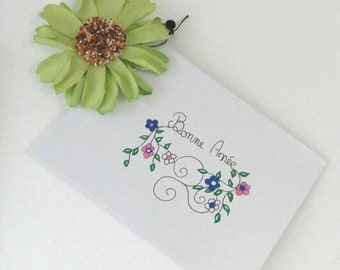 Greeting card, new year card, happy new year, brittany card, triskel card, flowers