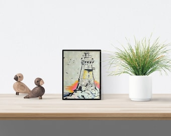 Lighthouse drawing, home decoration, original illustration, black frame