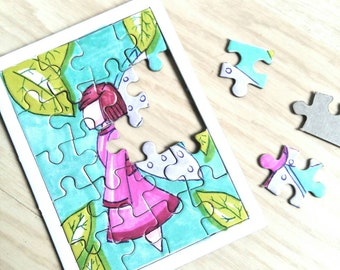 Painted puzzle card, fairy puzzle, child game, fairy