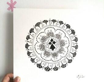 Mandala poster, mandala Brittany, black ink, Breton drawing