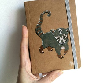 Moleskine Notebook, Coati, coati illustration, animal drawing, A6 notebook,