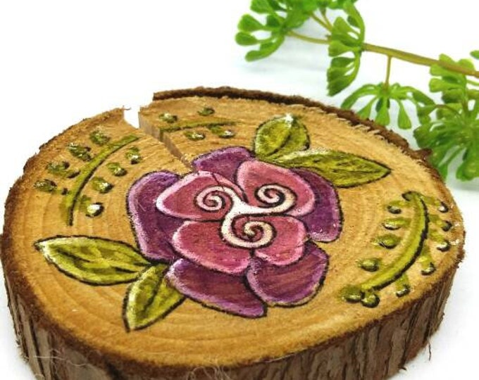 Featured listing image: Fancy decoration, flower painting on wood, acrylic painting, decorative log,