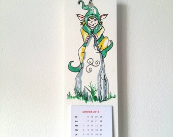 Wall calendar 2019, unique calendar, korrigan, leprechaun