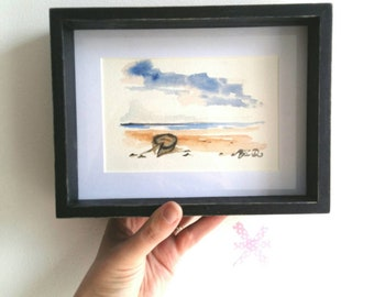 Marine Painting, Watercolor Black Frame, Home Gift, Wall Decor.