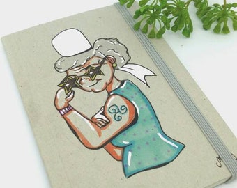 Illustrated notebook, Cool grandma, grandma's gift idea, grandmothers' day, brittany