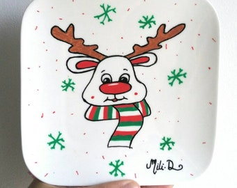 Decorative plate hand painted Reindeer