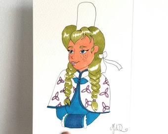Dessin Princesse Ana, Princesse de neige, amour de princesse, format carte