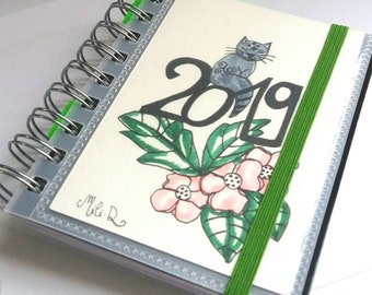 Agenda 2019, Pocket, student, grey cat calendar, pink flowers agenda