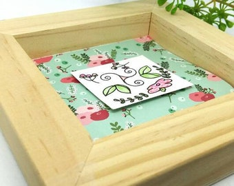 Wooden flowers frame, floral frame, original flowers decoration