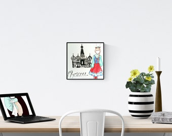 Moscow, watercolor illustration, russian love, unique poster, brittany