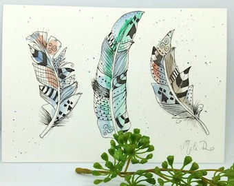 Watercolor single card feathers brittany