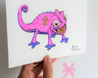 Drawing Pascal Chameleon, animal art, love of nature, map format