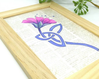 Flower Wood Frame, Floral Art Frame, Wall Decor, Flower Drawing, Home Gift,