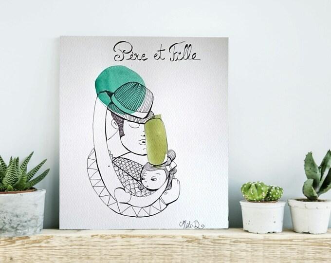 """Featured listing image: Aquarelle """"Père et fille"""""""