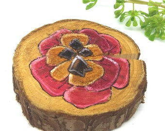 Wood painting, decorative wooden log, red flower, brittany, home decoration