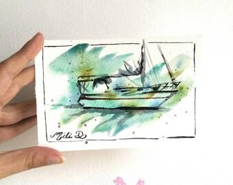 Carte aquarelle voilier