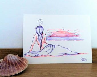 """Aquarelle """"Violette de Mer"""""""