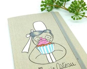 Illustrated notebook, Grandma cake, Grandma gift idea, Grandmas party