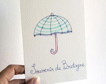 "Carte postale ""Parapluie"""