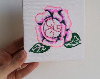 Tableau brodé fleur