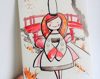 Japan, watercolor, illustration, art, poster, Brittany, wall decor, gift idea, Brittany, Japanese painting, drawing, red, orange