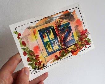 Carte postale Volet bleu