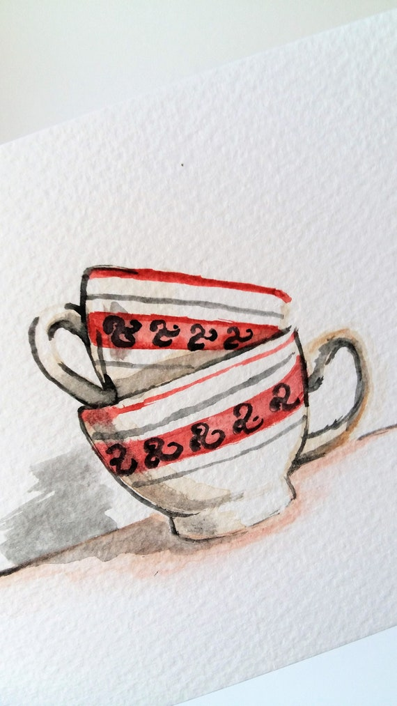 Card Postcard Watercolor Watercolor Breton Bowls Bowlful Etsy