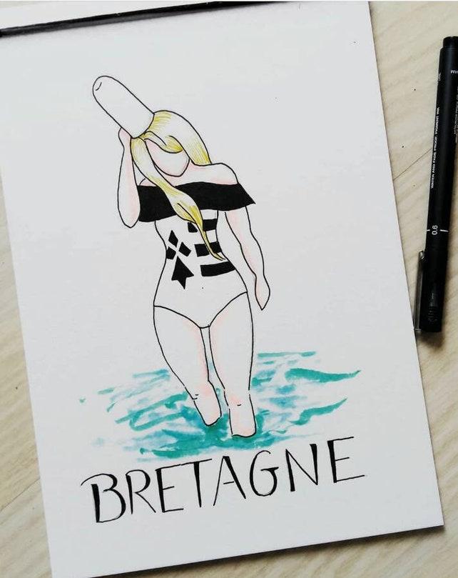 Aquarelle Bretagne affiche femme aquarelle bretagne peinture aquarelle dessin | etsy