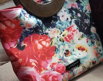 Large floral printed fabric Bag with wooden handles