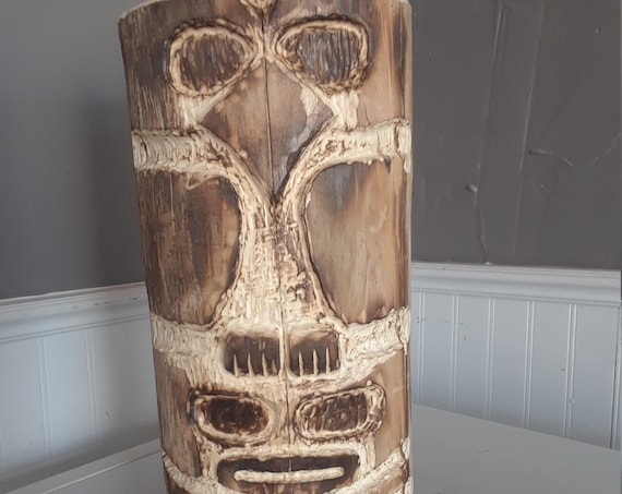 Totem Pole 14 inch hand carved wood stylized animal North American Native art style spiritual animals ancient First Nations art style