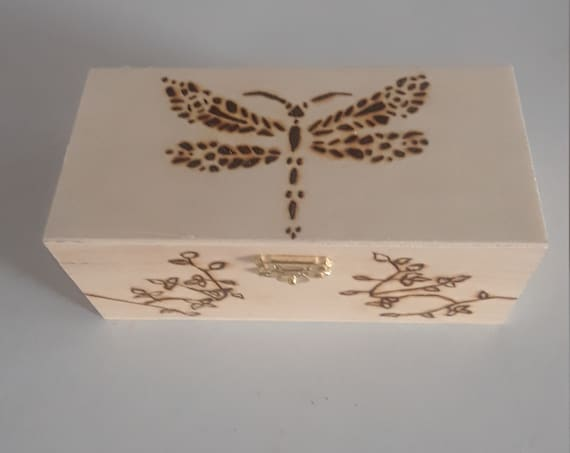 Dragonfly Jewelry Box 6.5x3x3 wood burned wood vintage personalized for girl kids gift birthday home decor fantasy