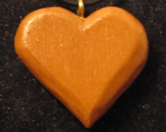 Valentines Day Special Heart hand carved original piece of art approximately 2 inches with FREE 18 inch lanyard decoration