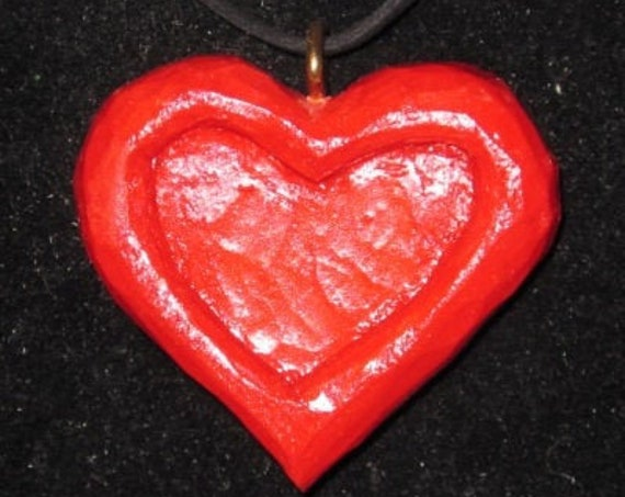 Valentines Day Special Heart hand carved with FREE 18 inch lanyard and FREE shipping gift for a loved one, decoration