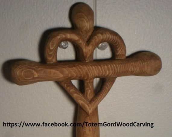 Valentines Day Celtic Heart Cross hand carved 7 inches ancient symbol home decor