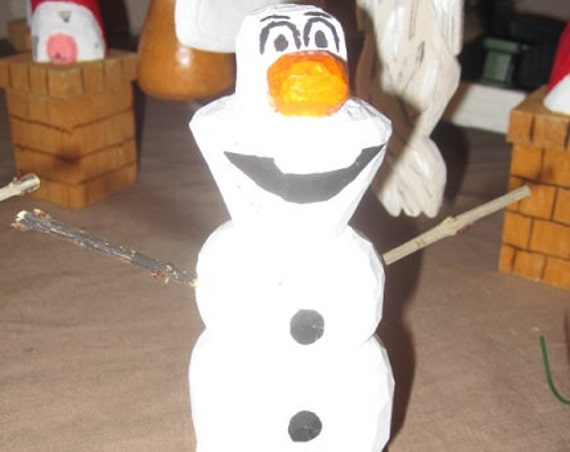 Olaf Snowman hand carved and hand painted great Christmas decoration for year round display