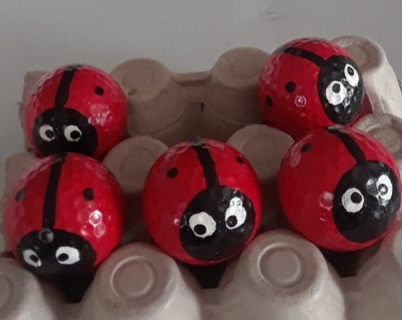 Waldorf Golf Ball Lady Bugs set of 5 hand made leaning tools home schooling school teachers aid kids toys whimsical home and garden decor