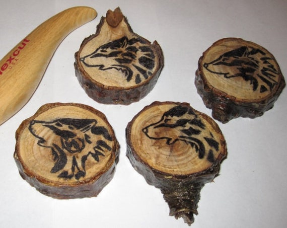 Howling Wolf hand carved wood burned whimsical hand made great Christmas gift each is unique sold per each