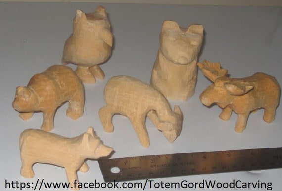 Waldorf style wooden toys leaning tools home schooling school teacher aid Set of 6 hand carved wood animals wolf bear deer moose owl raccoon