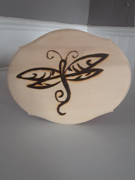 Dragonfly wood burning 5 x 7 inch stylized home decor great gift wood insect project hand made pyrogaphy