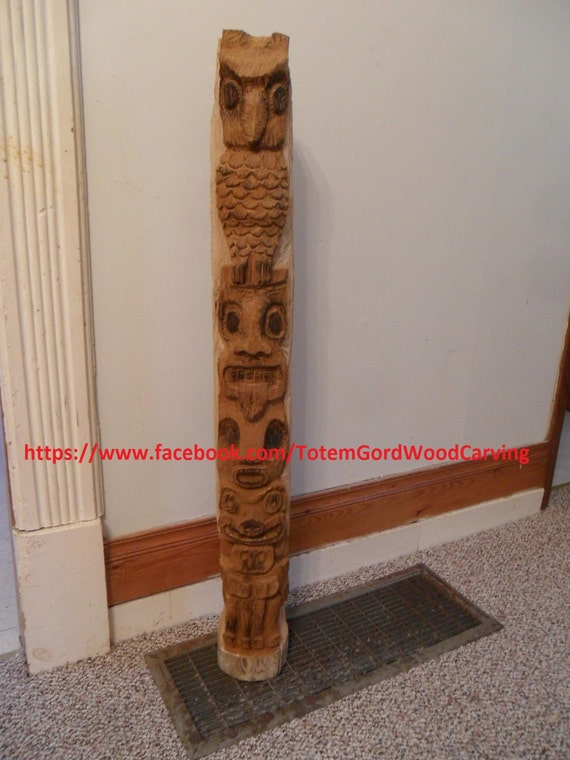 Custom totem pole hand carved style make great gifts as rustic indoor/outdoor decor, anniversaries, yard art, birthdays