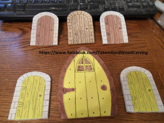 Waldorf hand made Fairy doors set of 6 assorted sizes and colors wood toys leaning tools home schooling school teachers aid